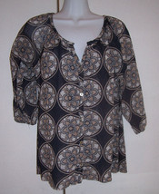 SWEET PEA Stacy Frati Black Beige Cream Rose Window Pattern Blouse Top M... - $18.80
