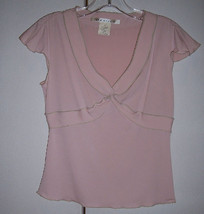 Max Studio Light PInk Crossover V Neck Empire Flutter Cap Sleeve Top Sz ... - $24.26