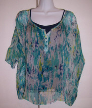 Ella Moss 2 Pieces Blue Green Print Silk Top Shirt w/ Navy CottonTank Sz... - $29.65