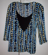 AB Studio Faux Wrap w/ Attached Tank Blue Black Yellow White Print Sz Me... - $9.99