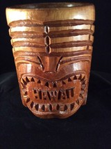 Vintage Vtg Carved Wood Hawaiian Tiki Mug Cup Mid Century Wooden Face H78 - $9.89