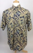 Woolrich Mens Cotton Shirt L Large Tan Blue Button Front Short Sleeve E12 - $15.83