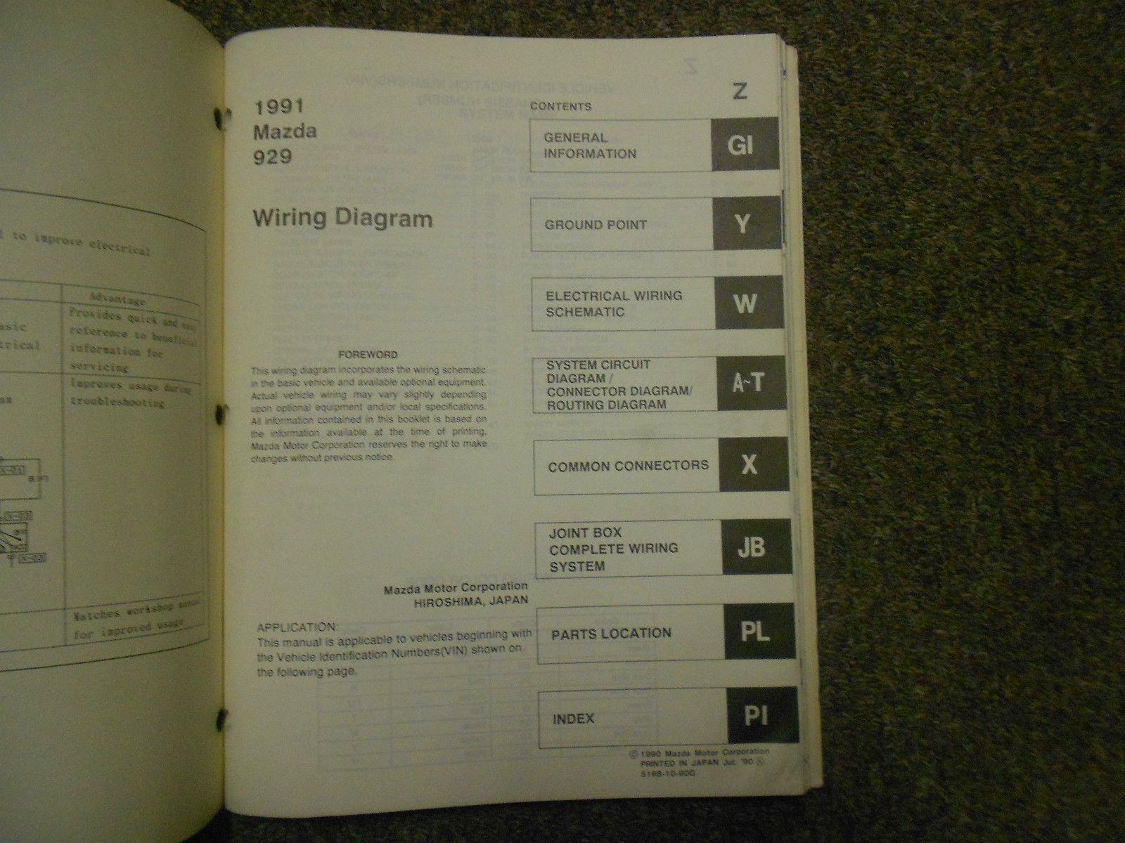 1991 Mazda 929 Electrical Wiring Diagram And 50 Similar Items