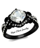 BLACK STAINLESS STEEL 3 CT CUSHION CUT CUBIC ZIRCONIA ENGAGEMENT RING SI... - $15.74
