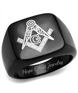 MEN'S BLACK STAINLESS STEEL SQUARE FLAT TOP MASONIC FREEMASON RING SIZE ... - $15.74