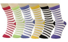 Ladys' Candy Stripe Crew Cut Novelty Socks 6 Pairs Assorted Colors Size ... - $13.85