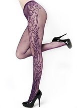 Outer Flower Blossom Vines Fishnet Pantyhose (Regular, Purple) [Apparel] - $13.85
