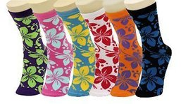 Lady's Hibiscus Flower Novelty Crew Socks - Assorted 6 Pairs [Apparel] - $13.85