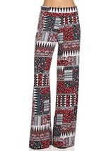 ICONOFLASH Women's Small Tiki Tribal Wide Leg Palazzo Pants with Fold-Over Waist - $24.74
