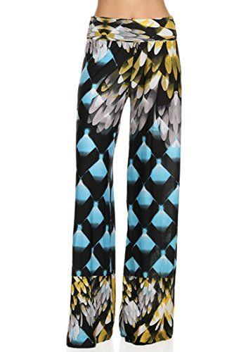 ICONOFLASH Women's Medium Eagle Wings Wide Leg Palazzo Pants with Fold-Over W... - $24.74