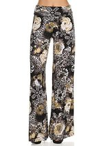 ICONOFLASH Women's Medium Floral on Cheetah Wide Leg Palazzo Pants with Fold-... - $24.74
