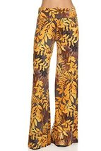 ICONOFLASH Women's Large Golden Leaves Wide Leg Palazzo Pants with Fold-Over ... - $24.74