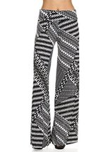 ICONOFLASH Women's Medium Black & White Zigzag Wide Leg Palazzo Pants with Fo... - $24.74