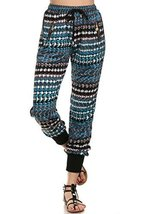 ICONOFLASH Women's Printed Joggers with Elastic Waistband & Pockets (Blue Dia... - $28.70