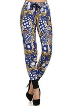ICONOFLASH Women's Printed Joggers with Elastic Waistband & Pockets (Blue Pai... - $28.70