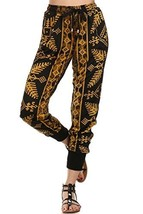 ICONOFLASH Women's Printed Joggers with Elastic Waistband & Pockets (Golden D... - $28.70