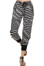 ICONOFLASH Women's Printed Joggers with Elastic Waistband & Pockets (Zigzag, ... - $28.70