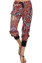 ICONOFLASH Women's Printed Joggers with Elastic Waistband & Pockets (Bright T... - $28.70