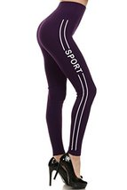 "ICONOFLASH Women's Stretchy Athletic Leggings with ""Sport"" Side Lettering (Da... - $15.83"