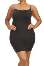 ICONOFLASH Women's Nylon Seamless Long Cami Slip Dress (Charcoal, Plus) - $13.85