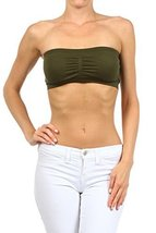 ICONOFLASH Women's Bandeau Top with Removable Pads, Dark Olive [Apparel] - $8.17