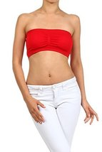 ICONOFLASH Women's Bandeau Top with Removable Pads, Red [Apparel] - $8.17