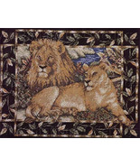 Dramatic African Lion Pair Cross Stitch Kit Jane Chandler - $24.99