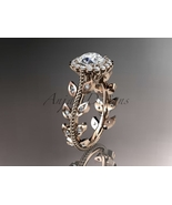 Leaf and floral engagement ring, 14k rose gold diamond engagement ring w... - $1,645.00