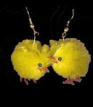 Funky Chenille FUZZY CHICK EARRINGS Chicken Farm Easter Bird Hen Costume... - $6.99