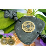 Vintage Chinese Coin Black Stone Oriental Necklace Pendant Earrings - $56.95