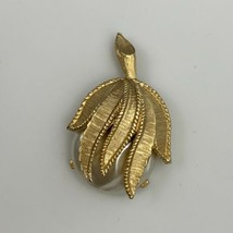 Sarah Coventry Hidden Pearl Pendant Vintage 1960s Brushed Gold Tone Faux... - $19.75