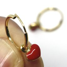 18K YELLOW GOLD CIRCLE HOOPS 13 MM EARRINGS WITH RED ENAMEL MINI HEART PENDANT image 4
