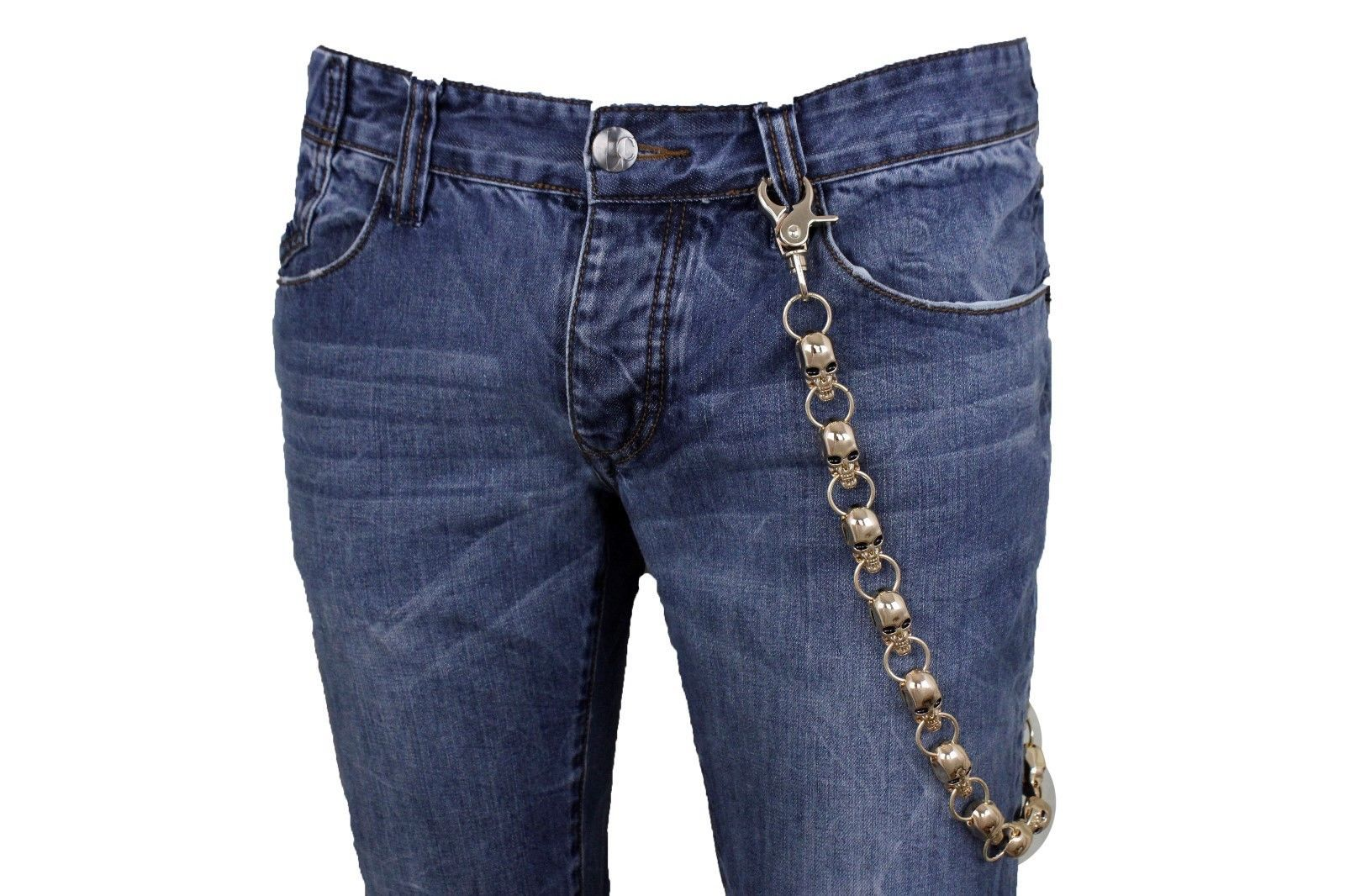 Men Black Metal Long Wallet Chains Pewter Skulls Biker Jeans Rock Trucker Strong