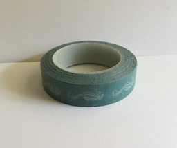 Colorful Washi Tape, Green With White Seahorses, Supply, Crafting, Adhesive - $2.50