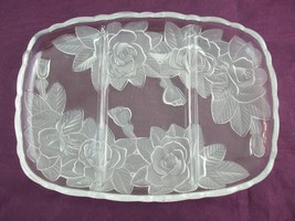 Mikasa Studio Nova 3 Sections Divided Platter Clear Glass w Frosted Rose... - $12.82