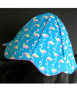 Girls Flamingo Fabric Petal Hat Reversible Lined - Handmade Size Med Blu... - $14.00