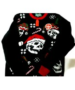 Ugly Christmas Sweater Santa Hat Sculls Lights Up Sz. XL NWT...see photos! - $9.70