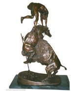 """Buffalo Horse"" Pure Bronze Collectible Sculpture Statue by F. Remington... - $2,995.00"