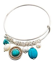 Turquoise Faux Pearl Charms Bangle Bracelet Silver Tone  - $19.97