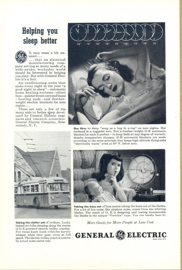 1945 General Electric aids to better sleeping print ad Bonanza