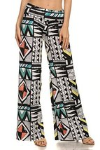 ICONOFLASH Women's Wide Leg Palazzo Pants with Fold-Over Waist (Geometric Tri... - $29.69