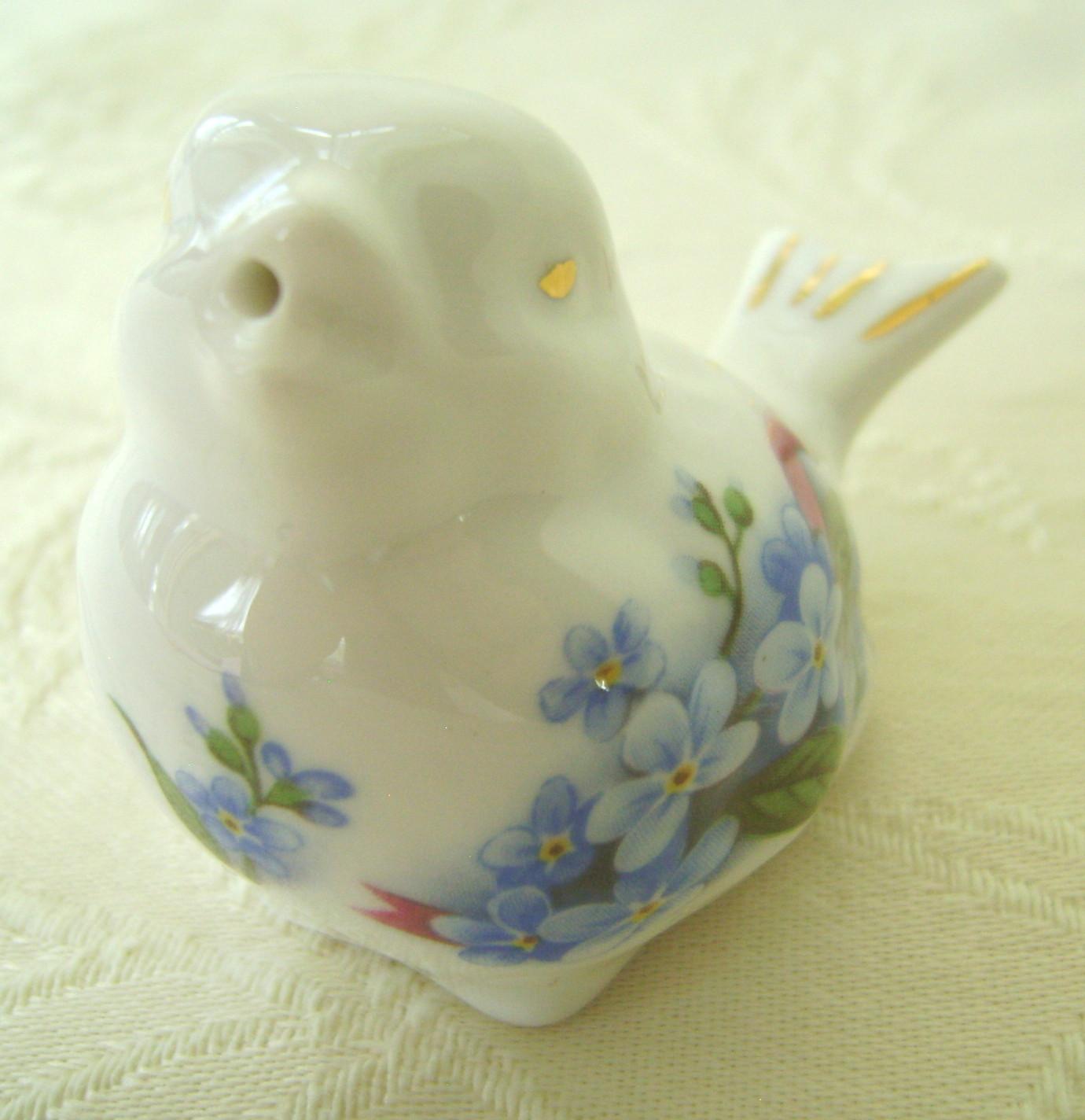 Bone China Bird Salt & Pepper Shaker Set, Forget-Me-Not Pattern