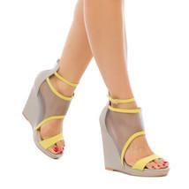 NEW Leather and Mesh Platform Sandal Wedge Heel w/ Adjustable Ankle Stra... - $75.00