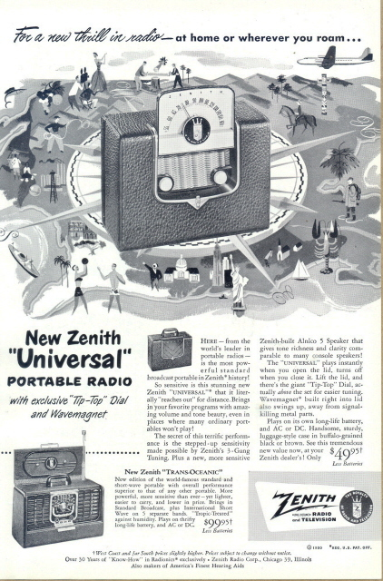 1950 Zenith Universal portable radio print ad Bonanza