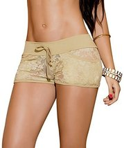 AM:PM By Espiral Women's Sexy Lace Shorts, Mocha, Large [Apparel] - $19.90