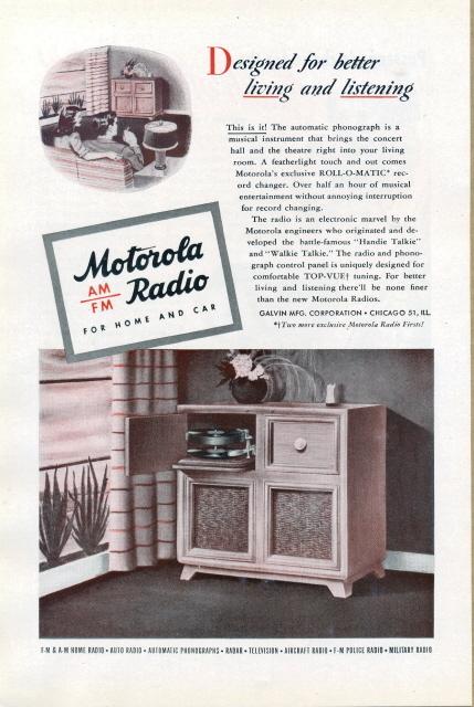 1945 Motorola AM FM Automatic Radio Phonograph print ad Bonanza