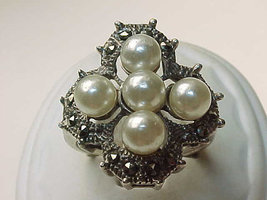 Genuine PEARLS and Marcasites set in Sterling Silver - Size 5 3/4 -FREE SHIPPING - $150.00