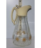 "Vintage Glass Log Cabin Maple Syrup 7"" Pouring Pitcher w/ Golden Star De... - $13.86"