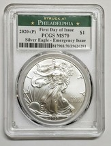 2020 P SILVER EAGLE Dollar $1 EMERGENCY ISSUE PCGS MS70 FDOI Coin sku c135 image 1