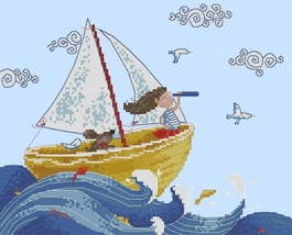Ahead To The Shore Greetings series cross stitch chart Lena Lawson Needle Arts - $9.00